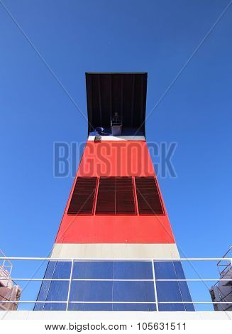 Wide Angle Shot Of The Chimney Of A Passenger Ferry