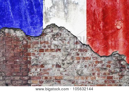 French Flag On Grungy Wall