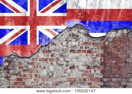 Hawaiian Flag On Grungy Wall