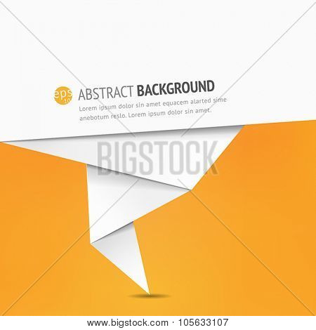 Abstract background with a paper speech bubble - origami style, flat design