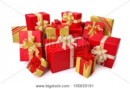 Elegant Gift Boxes In Red And Gold