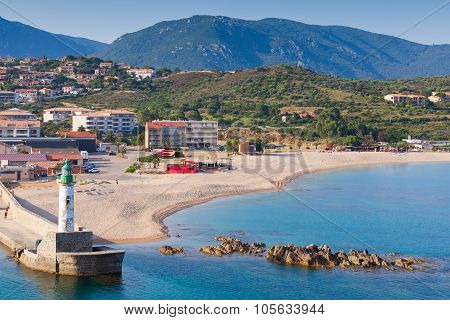 Lighthouse Tower In Port Of Propriano,corsica