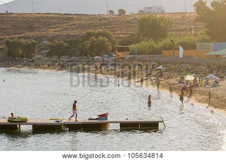 Paros, Greece 11 August 2015. People enjoying their vacation time in famous Punda beach in Paros.