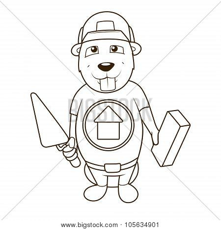 Beaver builder coloring book vector illustration