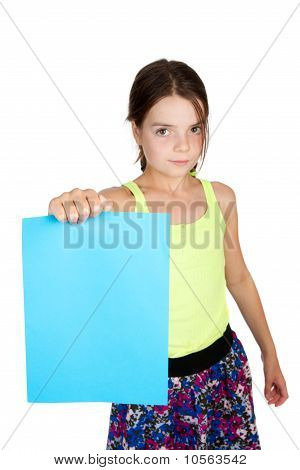 Primary Aged Girl Holding Sheet Of Paper