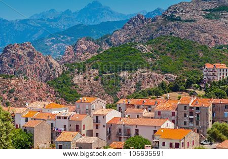 Corsican Village Cityscape, Old Stone Houses