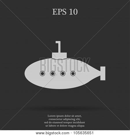 Submarine Icon Flat Design Style