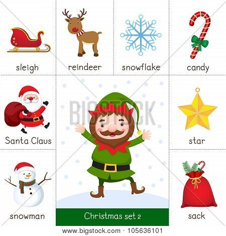 Printable Flash Card For Christmas Set And Christmas Elf