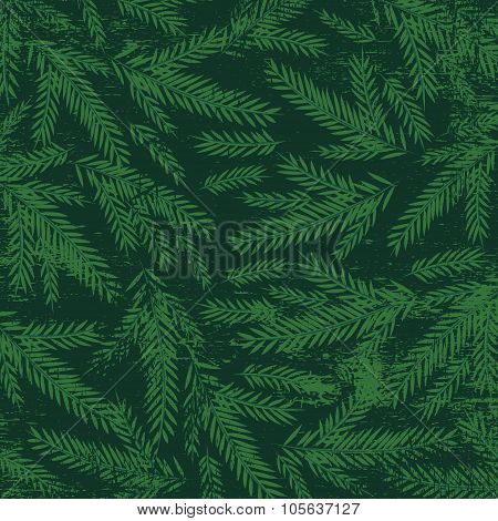Christmas Background With Green Alder Twigs, Vector