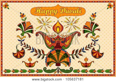 illustration of Happy Diwali background with floral diya