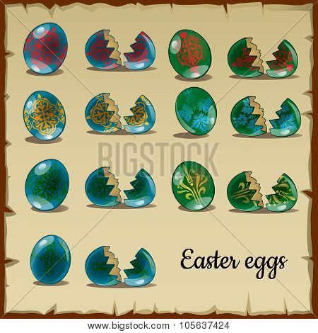 Set of whole and broken Easter eggs