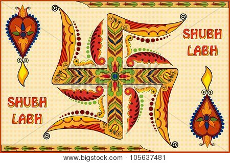 illustration of Happy Diwali background with floral diya with message Shubh Labh (Wishing you prosperity)