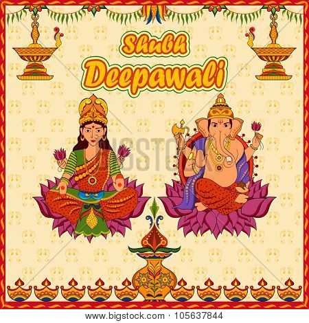 illustration of Goddess Lakshmi and Lord Ganesha in Happy Diwali background with message Shubh Labh (Wishing you prosperity)