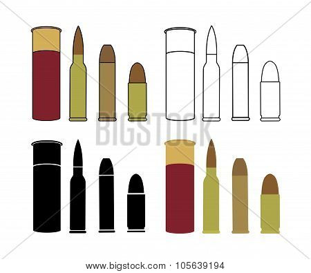 Bullets Game Set. Shotgun, Rifle, Pistol