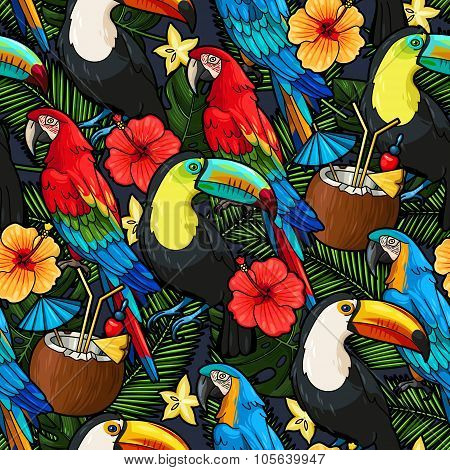 Macaw and tropical cocktail seamless