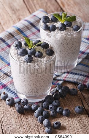 Delicious Pudding With Chia Seeds And Blueberries Close-up. Vertical