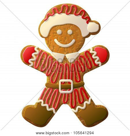 Gingerbread Man Dressed In Santa Claus Suit