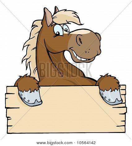 Cavalo feliz dos desenhos animados com um sinal em branco