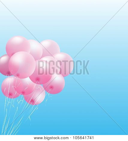 Pink inflatable air balls on sky
