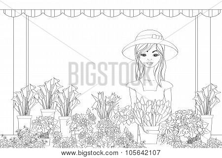 Vector Illustration Of Hand Drawn Florist Girl
