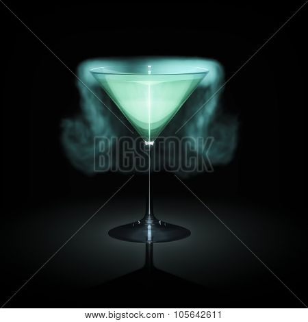 A blue smoking cocktail glass in front of a black background