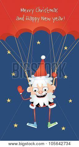 Crazy Santa Parachutist