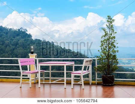 Outdoor Deck And Patio Furniture With Mountain View