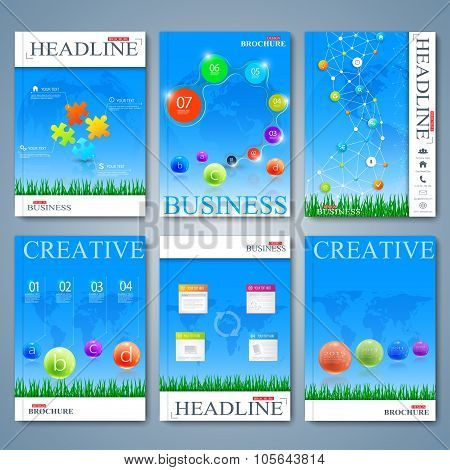 Modern vector set of brochures, magazine, flyer, booklet, cover or report in A4 size. Business desig