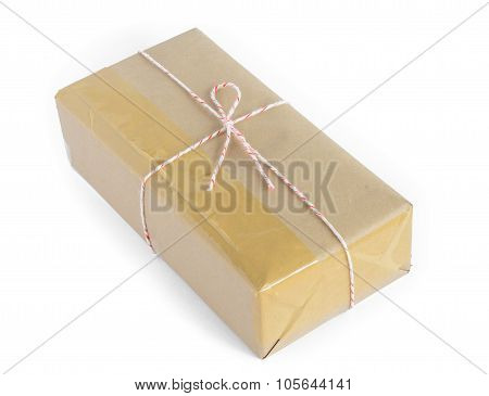 Brown Paper Parcel Wrap Delivery Isolated On White Background