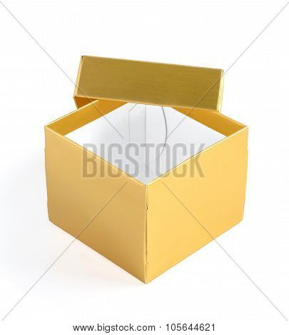 Opened Gold Gift Box With Lid