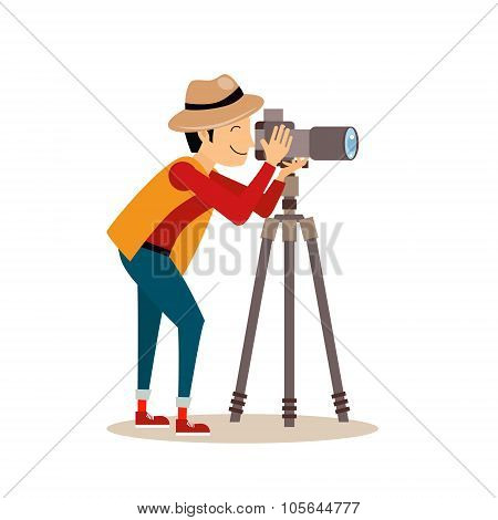Photographer with Tripod in Flat Style. Vector Illustration