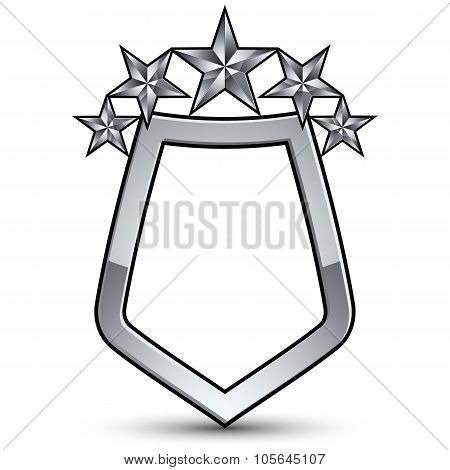 Festive Vector Emblem With Silver Outline And Five Decorative Pentagonal Stars, 3D Royal Conceptual