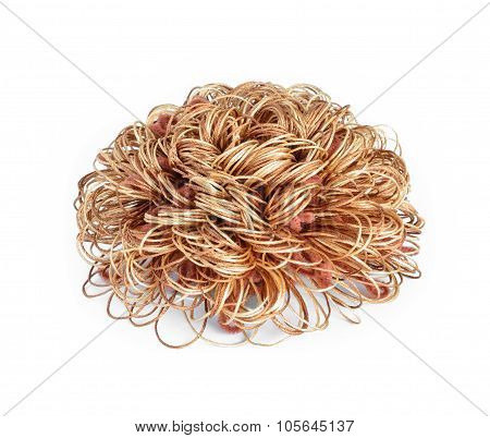 Brown Yarn Bow On White Background