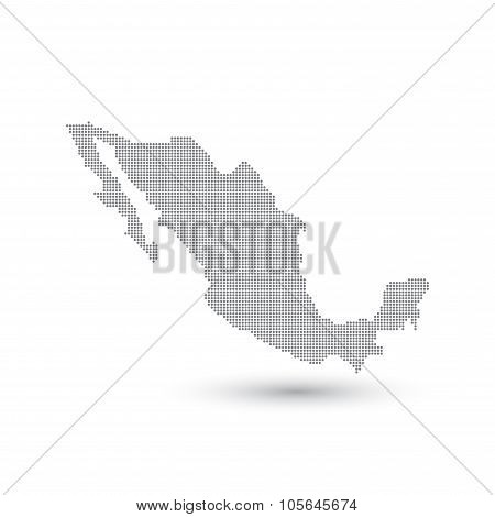 Grey Map Mexico In The Dot . Vector illustration