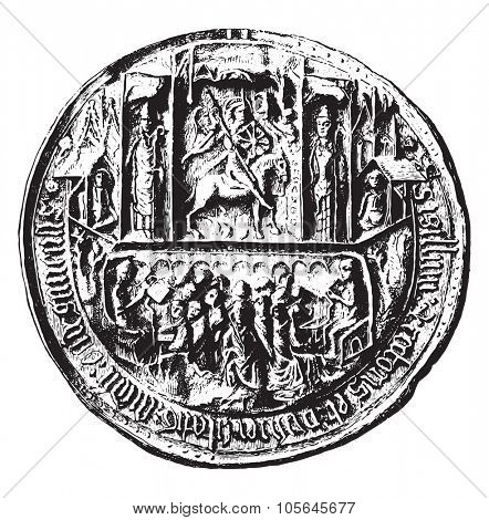 Seal of the University of Angers in the Middle Ages, vintage engraved illustration. Magasin Pittoresque 1877.