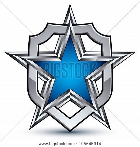 Renown Vector Silver Emblem With Pentagonal Star, 3D Sophisticated Design Element, Clear Eps 8. Dime
