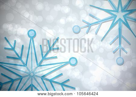 Blue snowflake pattern on twinkling lights