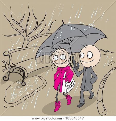 Loving couple walking park in rain. Autumn weather rain