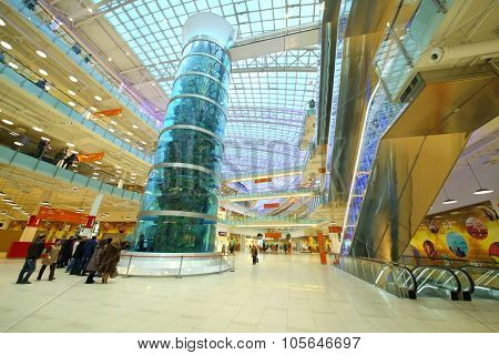 MOSCOW - DEC 05, 2014: Highest in the world aquarium in the shopping and entertainment complex Aviapark
