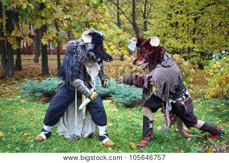 MOSCOW - OCT 12, 2014: Cosplayers dressed as rats fight with each other at the EveryCon 2014 in the exhibition center Sokolniki