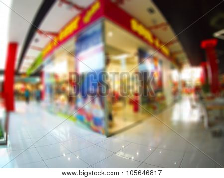 Blur Interior Of The Shopping Center With Shops