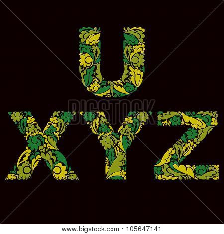 Spring Style Green Vector Font, Typeset With Eco Floral Ornament. U, X, Y, Z Letters Isolated.