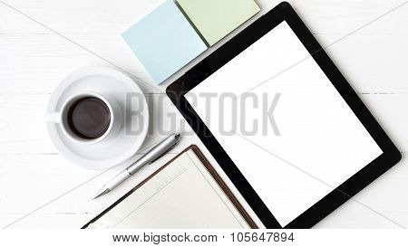 Tablet With Notebook And Coffee Cup