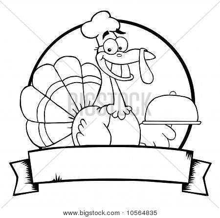 Outlined Turkey Chef Serving A Platter Over A Circle And Blank Banner