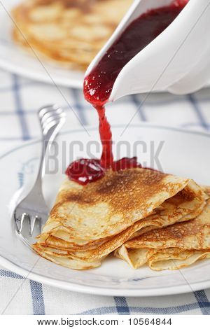 Crepes With Cranberry Jam