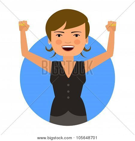 Excited business woman with hands up