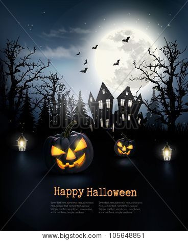 Spooky Halloween background with a haunted house in a forest. Vector.