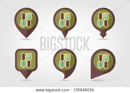 Garden tool flat mapping pin icon with long shadow