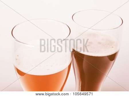 Retro Looking Two Glasses Of German Beer