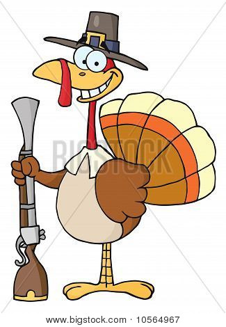 Happy Turkey With Pilgrim Hat and Musket